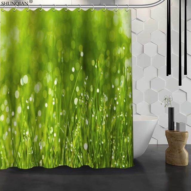New Green Grass Custom Shower Curtain Waterproof Fabric Bath Polyester Bathroom 18 411