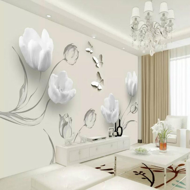 Cheapest Simple Tulip Butterfly Painting Wall Background Mural