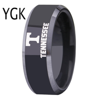 Free Shipping Customs Engraving Ring Hot Sales 8MM Black With Shiny Edges Tennessee Vols Design Tungsten
