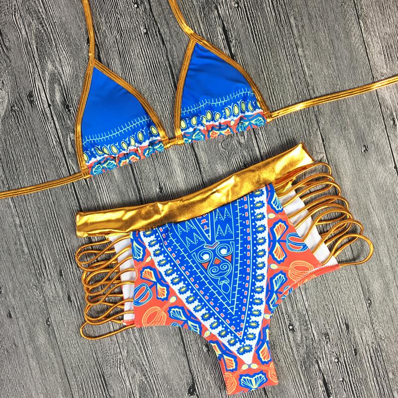2017 South African golden halter bikini Set high waist swimsuit two pieces swimwear women bathing suit bather maillot de bain 15