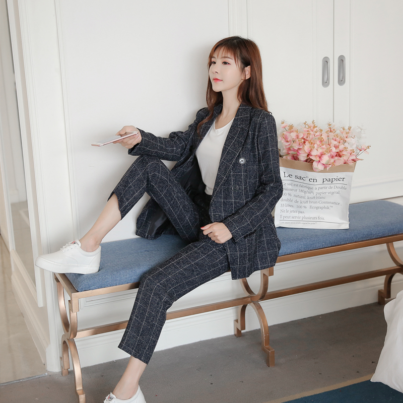 New Autumn Winter Women's Classic Pants Suits Fashion Striped Turn-down Collar Tops And Casual Pants Two Piece Sets S99021L 4