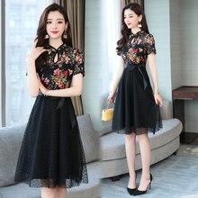 Summer Women Casual Lace Dresses Plus Size Elegant Floral Print A-line Female Fashion Vintage Party Dress Vestido цена