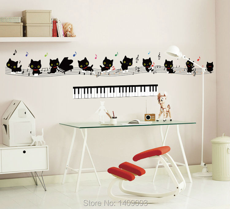 Wall Sticker Kids Animal Decoration Lovely Black Cats Music Piano ...