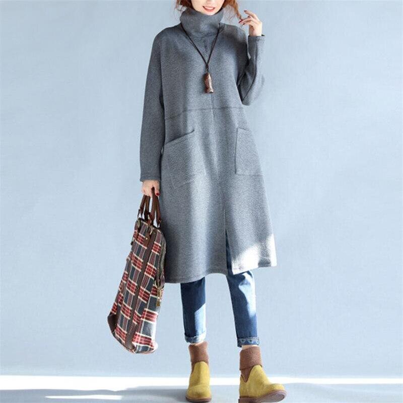Autumn fashion robe 2019 new hot warm oversized women dress casual long sleeve high collar loose