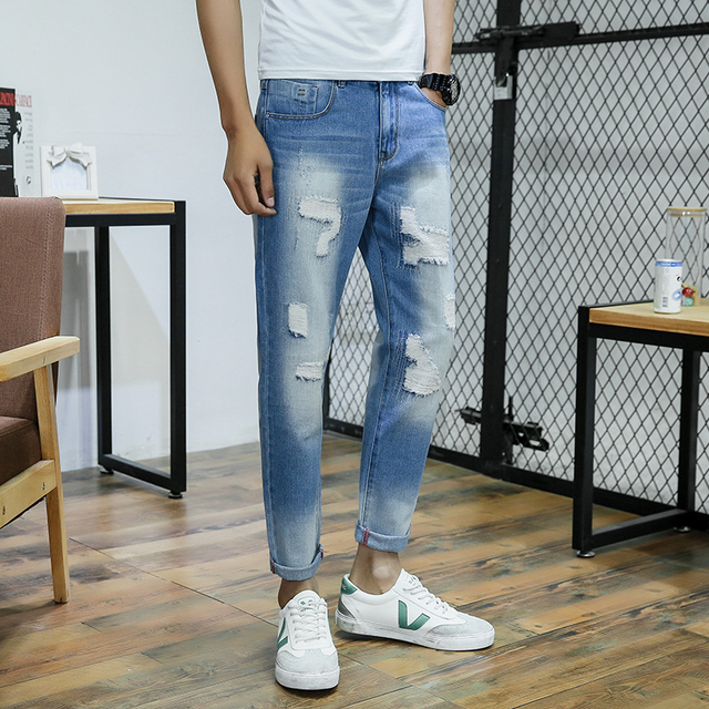Light Wash Jeans Mens Best Version Men Vintage Destroyed Skinny Blue