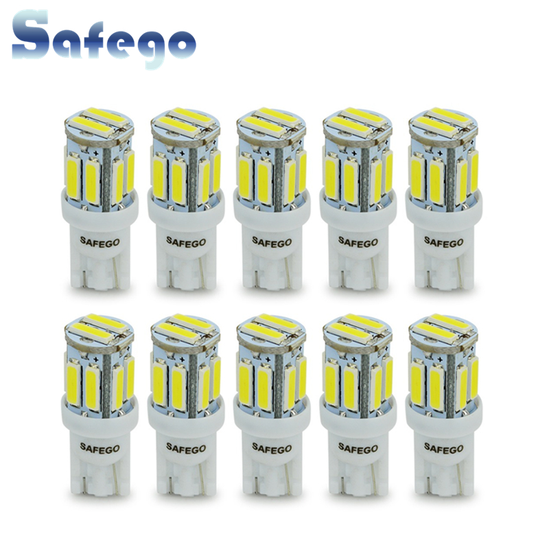 Safego 10pcs <font><b>T10</b></font> W5W LED 7020 <font><b>10</b></font> <font><b>SMD</b></font> 194 168 2825 <font><b>T10</b></font> White Bulbs Wedge Replacement Signal Trunk Dashboard Reverse Parking Lamp image