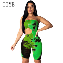 TIYE Tie Dye Print Sexy Off Shoulder Playsuits Backless Shorts Bodysuit Summer Hollow Out Overalls Rompers Womens Jumpsuit цена и фото
