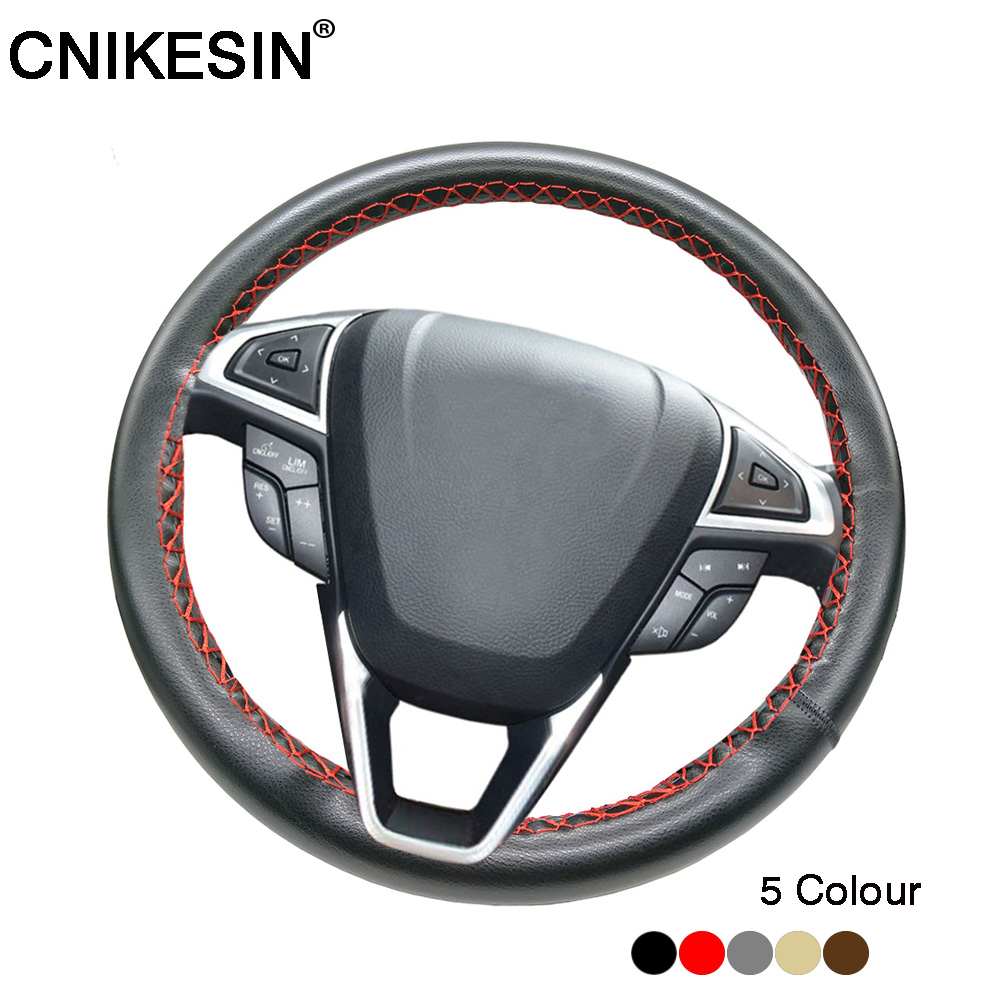 Diy Car Steering Wheel Cover 100% Real Cowhide Leather Cover With Needles Thread Car Cover For All Car Steering Steering 35-40cm