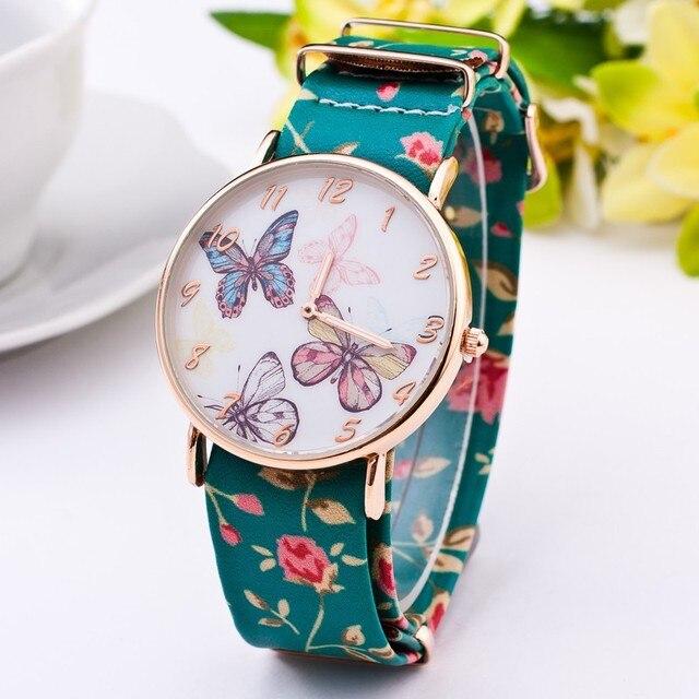 Zegarek damski kwiaty motyle lekki casualowy styl różne kolory