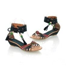 Woman Summer Sandals Shoes Exquisite Pu Leather Sandals Women Sandals Summer Shoes Sexy Flats Fashion Lace Women Flip Sandals