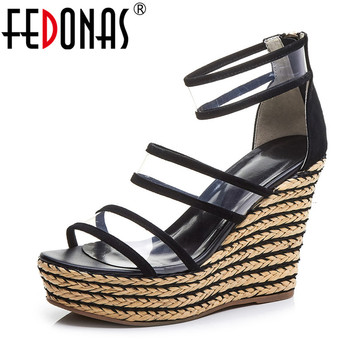 FEDONAS Vintage Sexy Rome Back Zipper Women Sandals 2019 Summer New Wedges Shoes Woman Classic Kid Suede Night Club Party Shoes