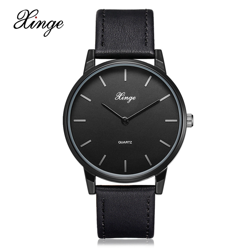 Xinge Luxury Mens Brands Black Watch Male Fashion Casual Quartz Wrist Watches Classic Genuine Leather Strap Men Wristwatch new world map mens genuine leather quartz watch wood bamboo male wrist watch luxury brand reloj de madera genuine with gift box
