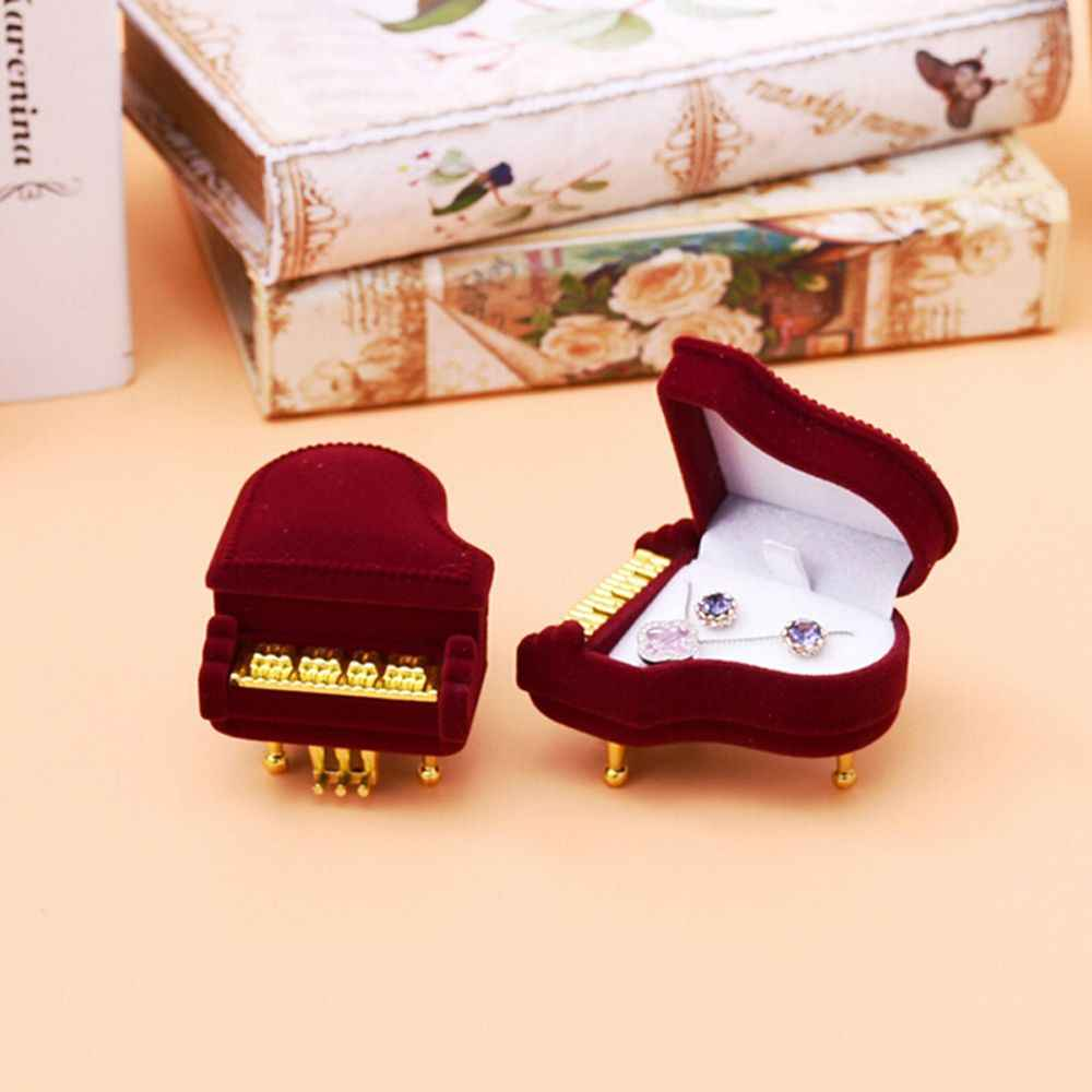 Fashion Piano Ring Box Creative Lovely Velvet Earring Packing Pendant Jewelry Box Storage Case Gift for Wedding Engagement