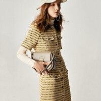 Knitted dress yellow tweed dress high quality luxury brand elegant sweet dress for girls ladies women 2019 spring new