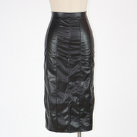 Women Sexy Pencil Skirts PU Faux Leather Skirt Hollow Out leren rok Bodycon Bandage Vinyl Party Lace Up Skirt