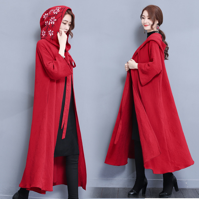 2018 Large Size Spring Cloak Coat Autumn Winter Long   Trench   Coat Loose Cotton Windbreaker National Wind Female Outerwear A1524