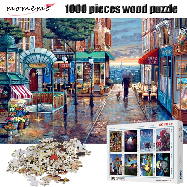 MOMEMO Romantic Town 1000 Pieces Puzzle 2mm Thick Adult Wooden Puzzle 1000 Pieces Jigsaw Puzzles Children Toys Gift Home Decor