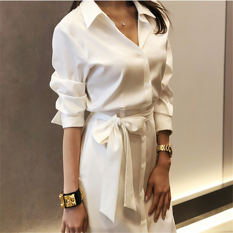 2019 Summer White Shirts High Split Dress For Women Long Sleeve  Belted Slim Waist  Long Office Ladies Dresses