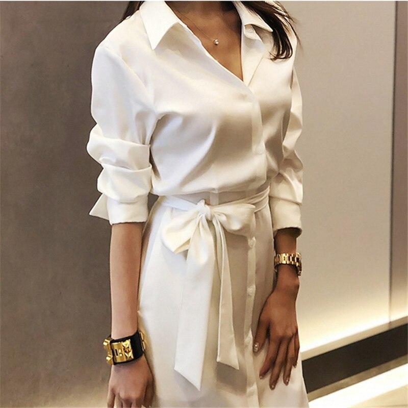 2019 Summer White Shirts High Split Dress For Women long Sleeve Belted Slim Waist Long Office Ladies Dresses