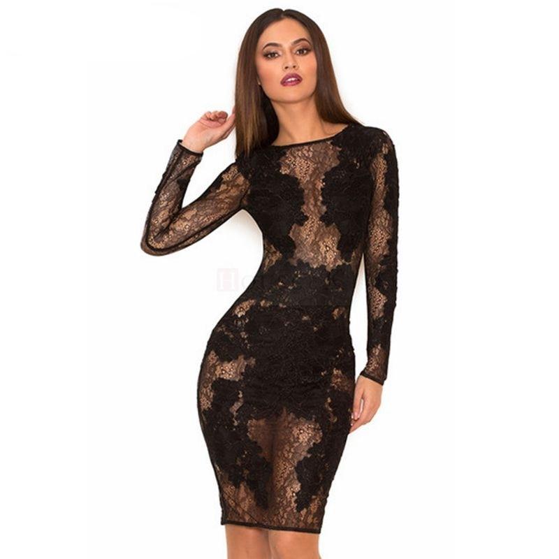 2017 Summer Black Long Sleeve Lace Dress Bodycon Celebrity