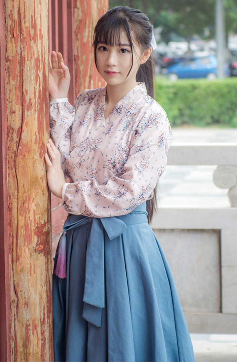 0da6f3b58b Girls Vintage Casual Hanfu Cross Collar Long Sleeve Convallaria Shirt Blue  Skirt w Waistbelt Outfit Set