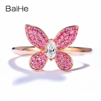 BAIHE Solid 14K Rose Gold Certified H/SI Total 0.34ct 100% Genuine Natural Diamond & Pink Sapphires Women Trendy Jewelry Ring