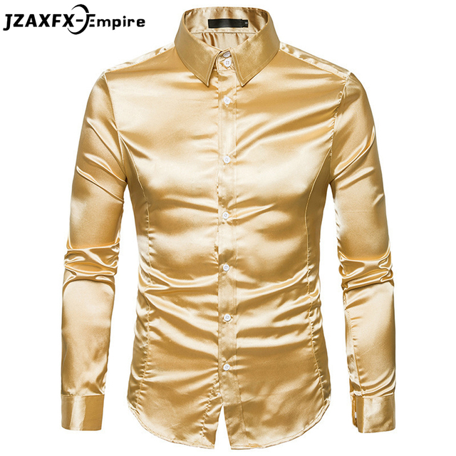 2018 Autumn New Men gold Color Shirt Long Sleeve Night Club Men Solid Shirt  Brand-Clothing camisa masculina Shirt men de87d20ba