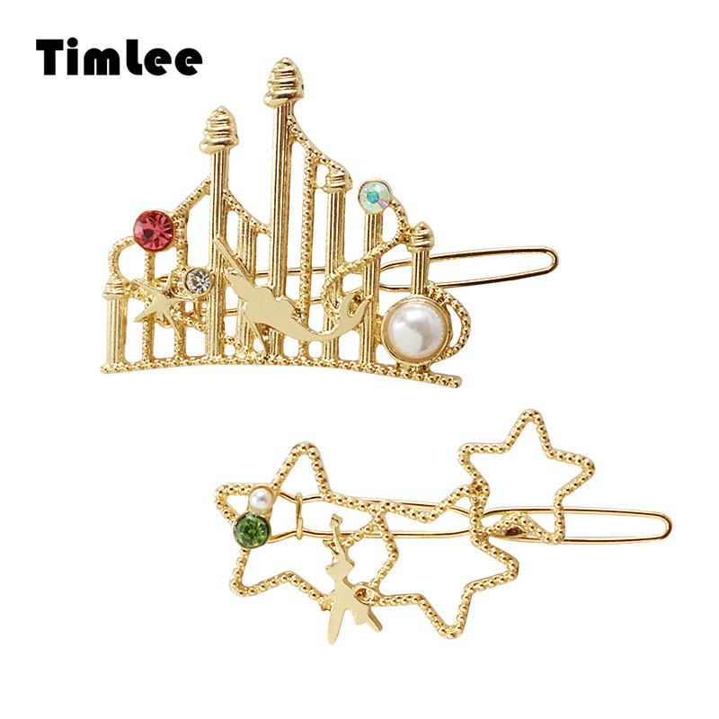 Timlee H095 Free shipping Fashion Star Mermaid Castle Rhinestone Imitation Pearl Hair Clip Lovely Hair Accessary wholesale