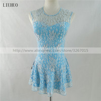 Figure Skating Dress Women's Girls' Ice Skating Dress Light blue white lace Round neck sleeveless Color rhinestones