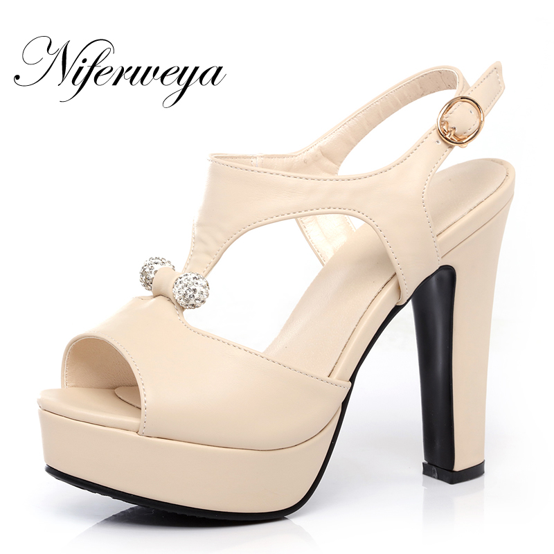 New sexy 12 cm thick heel Platform high heels Big size 31-43 summer women shoes fashion Buckle Strap pink sandals zapatos mujer new fashion spring autumn women shoes platform high heels buckle strap thick heels pumps lady shoes small big size 31 43 0061