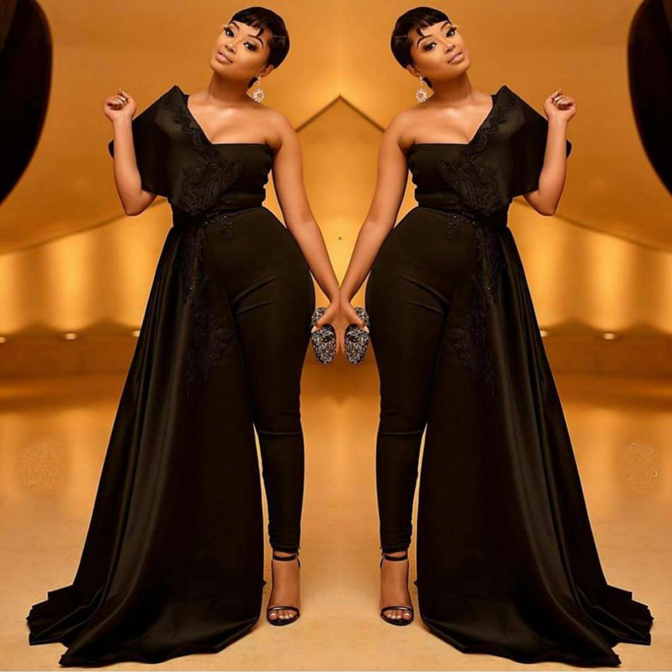 Plus Size Black Prom Dresses Women Jumpsuits 2019 One Shoulder Satin Lace Appliqued Evening Gowns With Wrap