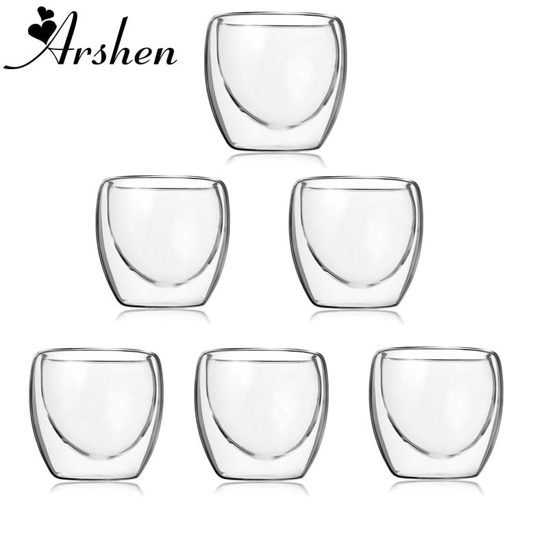 Arshen 6pcs/Set 80ml Double Wall Glass Clear Handmade Heat Resistant Mini Tea Drink Healthy Drink Mug Coffee Insulated Glass