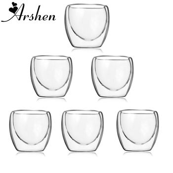 Arshen 6pcs/Set 80ml Double Wall Glass Clear Handmade Heat Resistant Mini Tea Drink Healthy Drink Mug Coffee Insulated Glass - DISCOUNT ITEM  40 OFF All Category