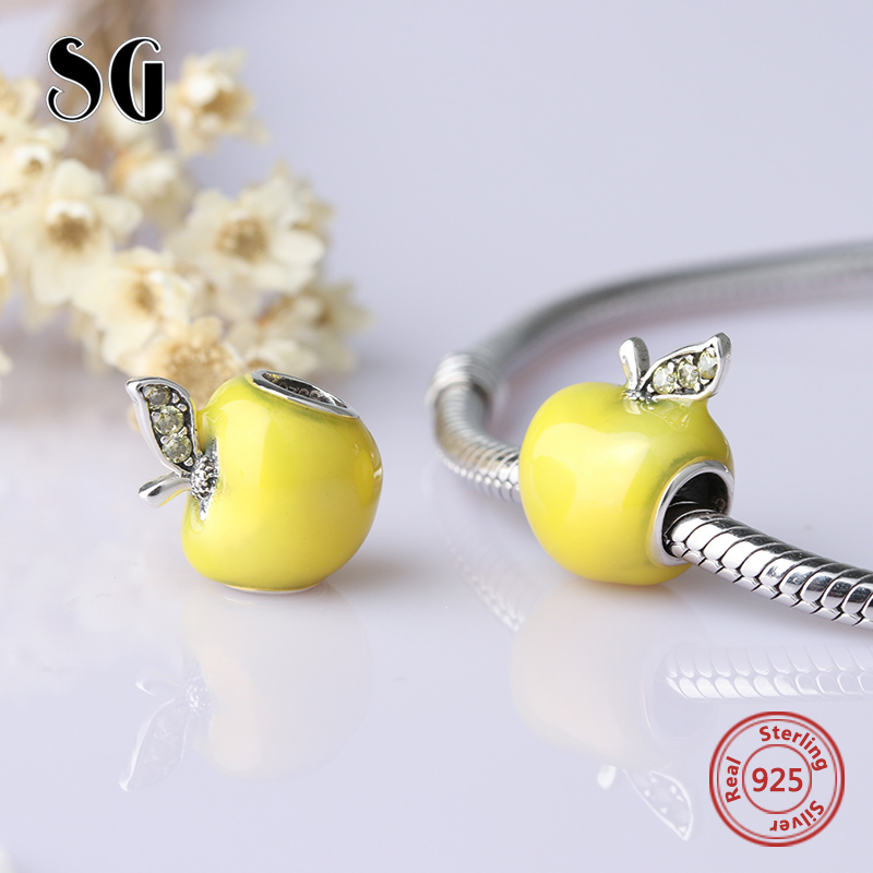 2018 Collection DIY Fit Original Pandora Charms Bracelets Jewelry Making 925 Sterling Silver Yellow Enamel Apple making jewelry