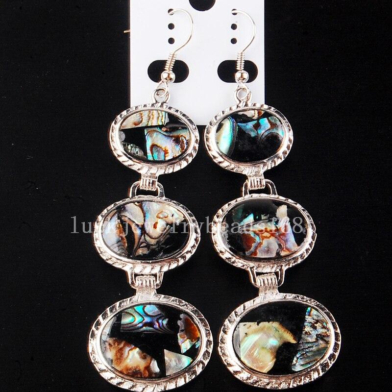 7f403e159c7df Darmowa Wysyłka Moda Biżuteria Piękne Nowa Zelandia Ablone Shell Sztuka  Owalne Kolczyki Zwisają Długie C4233