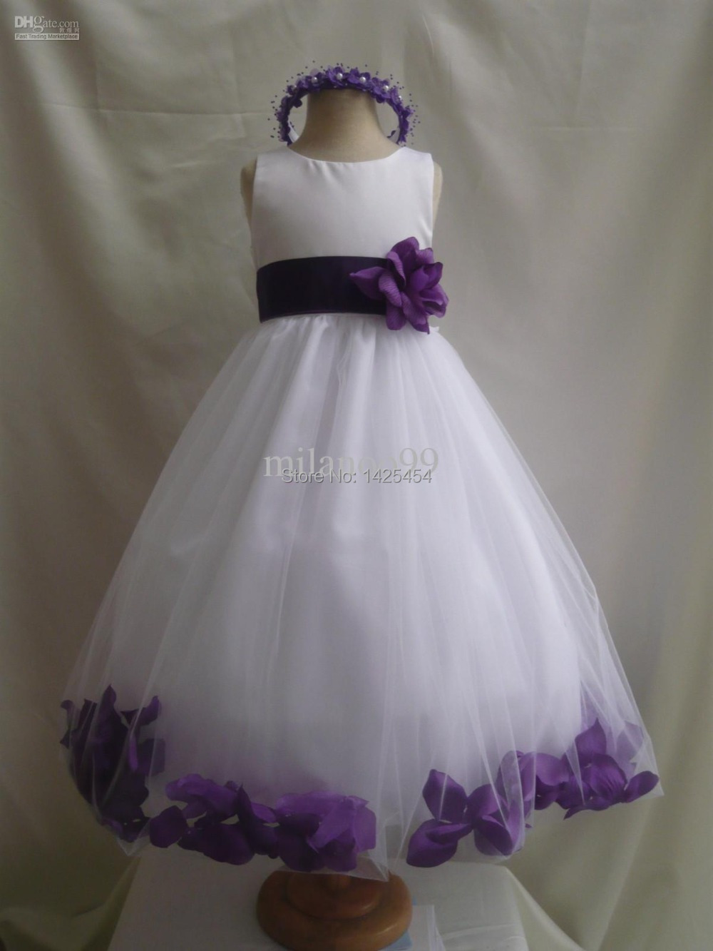 Rf004 cheap real white flower girl dresses with purple sashes rf004 cheap real white flower girl dresses with purple sashes handmade flowers scoop tank ankle length child pageant dress in flower girl dresses from mightylinksfo