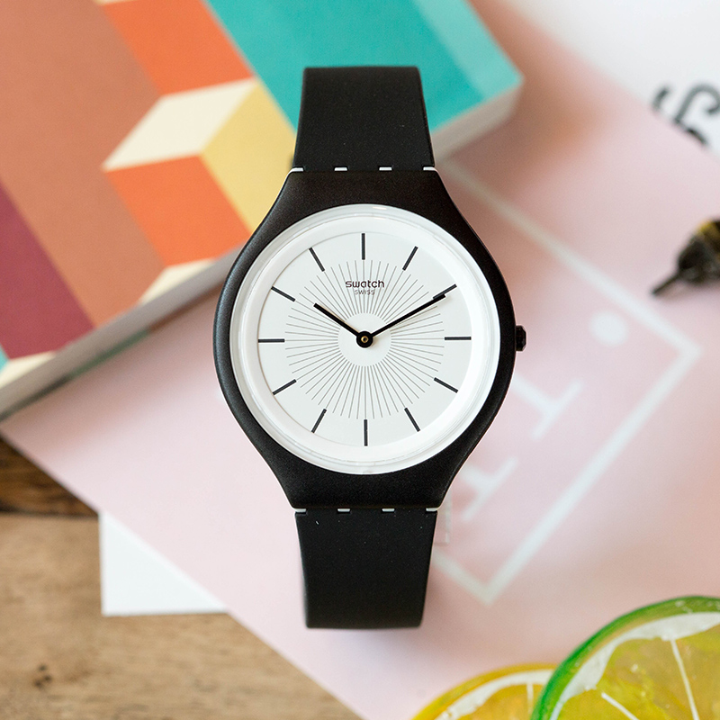 все цены на Swatch SKIN series Stylish black quartz watch for men and women SVUB100 онлайн