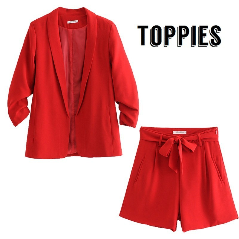 Office Lady Summer Small Suit Set Woman Leisure Red Thin Blazer Jacket High Waist Straight Shorts Business Work Two Piece Set