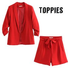 Office Lady Summer Small Suit Set Woman Leisure Red Thin Blazer Jacket High Waist Straight Shorts Business Work Two Piece Set(China)