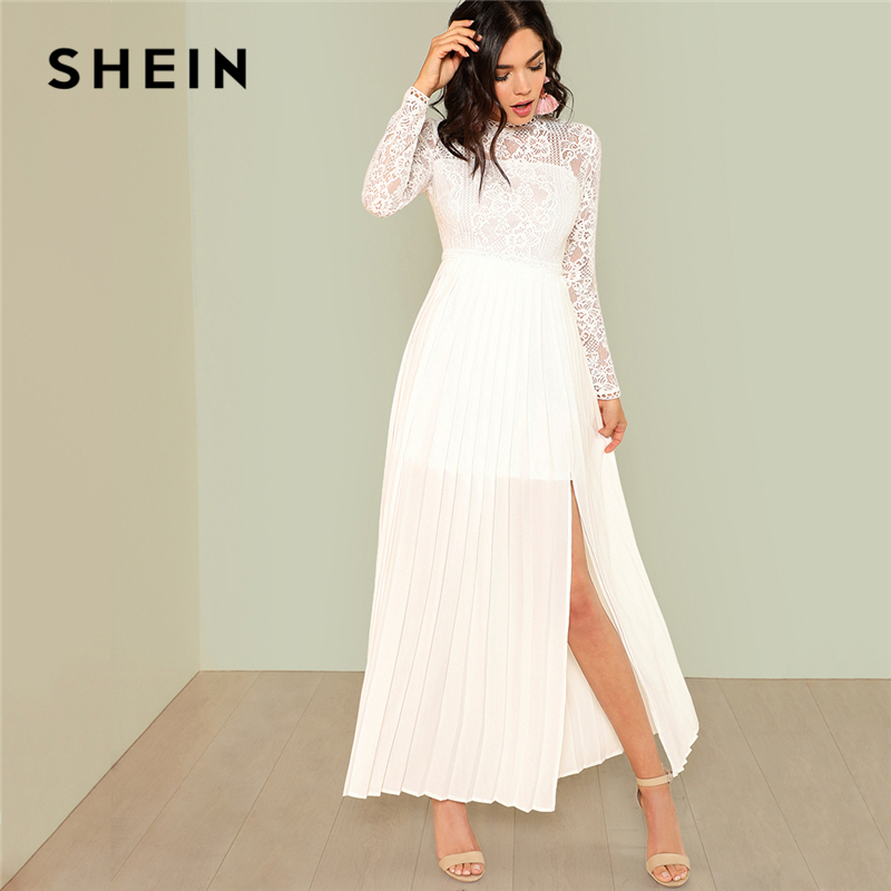 SHEIN Lace Bodice Pleated Panel Dress 2018 Summer Stand Collar Long Sleeve Contrast Lace Party Elegant Dress Women Solid Dress