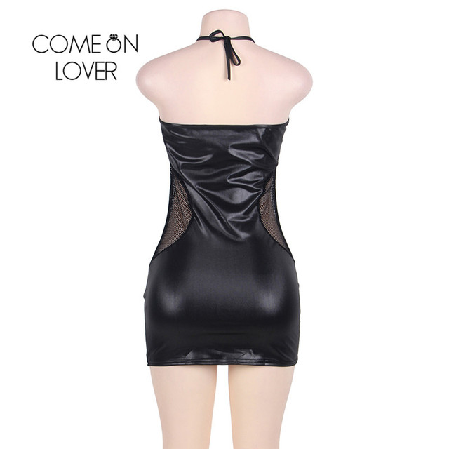 Comeonlover Sexy Lingerie Plus Size Babydoll Dress RI80454 Black Faux Leather Costume Clubwear Lingerie Disfraz Erotico Mujer 4
