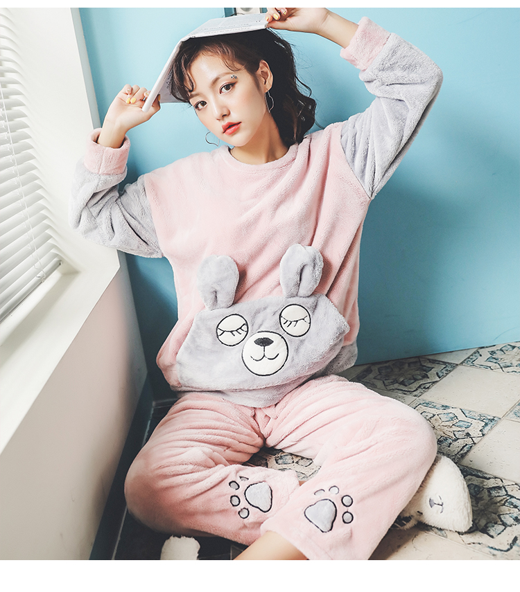 Long Sleeve Warm Flannel Pajamas Winter Women Pajama Sets Print Thicken Sleepwear Pyjamas Plus Size 3XL 4XL 5XL 85kg Nightwear 386