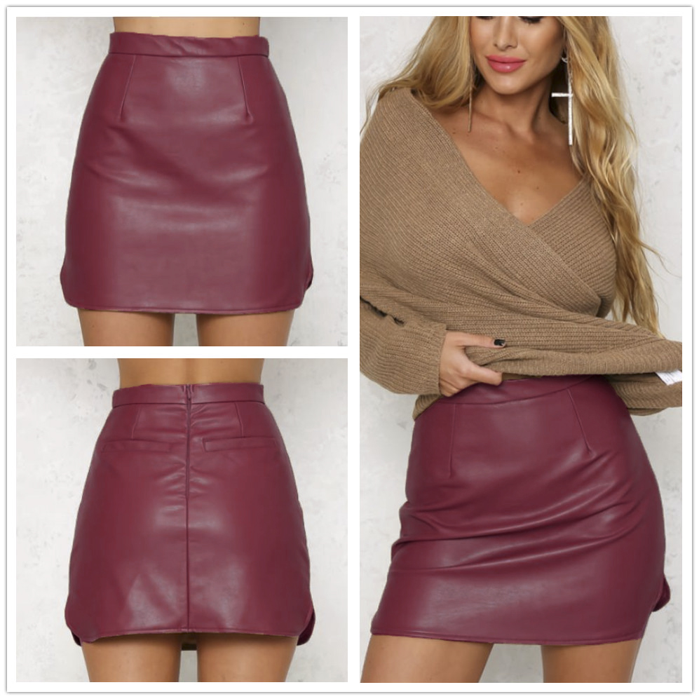 Popular Brown Faux Leather Skirt-Buy Cheap Brown Faux Leather ...