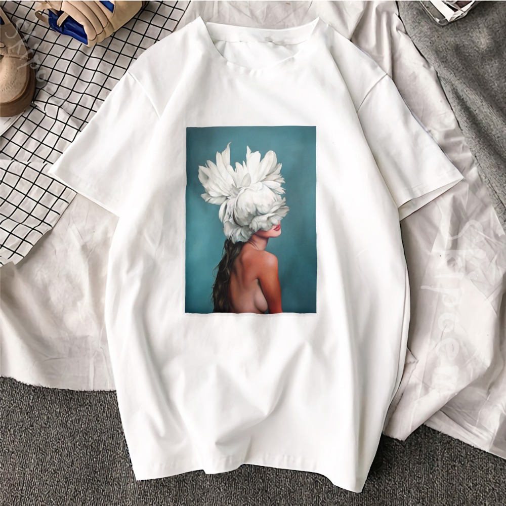New Cotton Aesthetics T shirt Sexy Flowers Feather Printed Fashion Casual Couple T Shirt 23