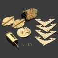Acessórios Para Móveis antigos Chinês Bronze Hardware Trava Gabinete Caixa De Madeira Hasp Bloqueio + + Dobradiças + Placas de Canto + Canto protetores