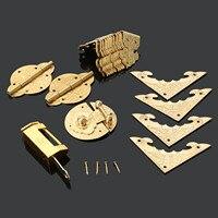Chinese Antique Brass Hardware Wood Box Cabinet Latch Hasp Lock Hinges Corner Plates Corner Protectors Furniture