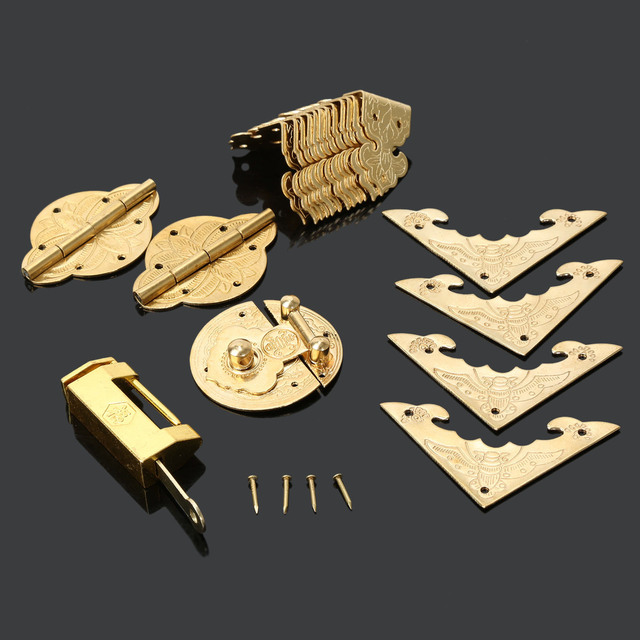 Antique Furniture Fittings Chinese Brass Hardware Wood Box Cabinet Latch  Hasp+Lock +Hinges + - Antique Furniture Fittings Chinese Brass Hardware Wood Box Cabinet