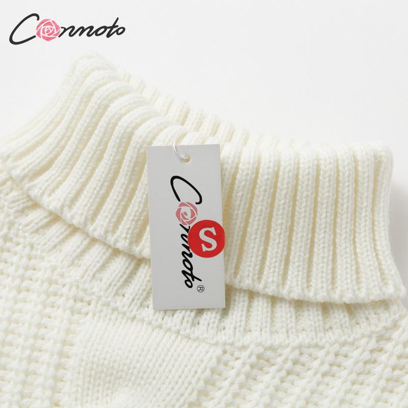 Conmoto Solid Deep Gray Casual Women Sweaters 19 Winter Turtleneck Knitwear Sweater Oversized Tassel Knitted Pullovers Jumpers 16