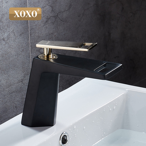 Image 2 - XOXO black white bathroom basinfaucet Hollow shape bath Waterfall faucets single handle water mixer tap 80015