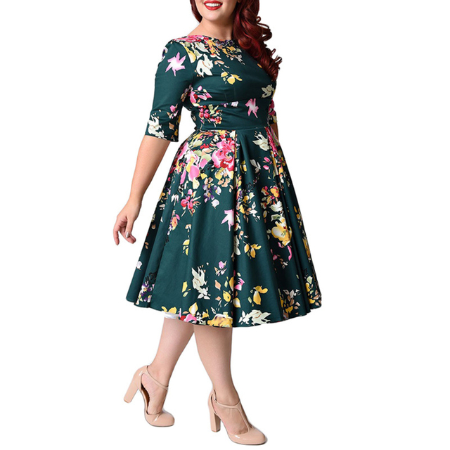 Retro Large Size 6XL 7XL 8XL Women Dress Vintage Zipper Floral Print Tunic Big Swing Dress Plus Size Dresses For Women 4XL 5XL 2